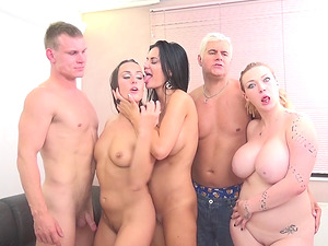 Fit fledgling boy gets deep throated by three sexy sex industry stars