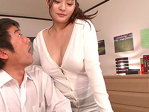Buxom Asian in a cardigan stripped and fucked