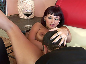 Wedging his man sausage into her pierced cunt makes her jizm