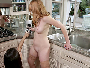 Kalina Ryu and her friend Marie McCray doing lesbo things in kitchen