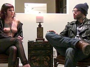 Tattooed chest porn industry star punk interviewing and sucking dick
