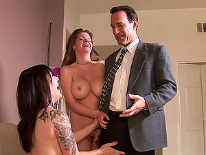 Moms despairingly suck on his dick and get fucked hard