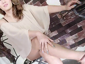 Elegant half-shirt and microskirt on a smoking hot Japanese tranny