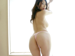 Asian undergarments beauty sits in your lap and gives a handjob