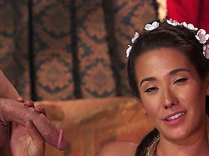 Elegant Eva Lovia takes a nobleman to couch and fucks him