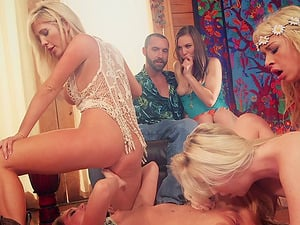 Girl-on-girl orgy on vacation with a beautiful collection of adult movie stars