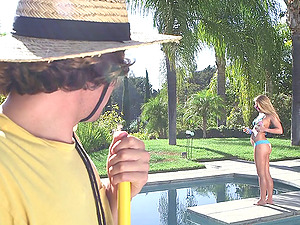 Pool boy joins a mummy and bathing suit nubile in the douche to fuck