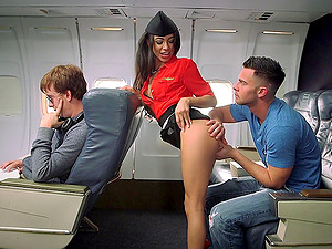 Trampy stewardess leaned over and fucked by a man on a plane