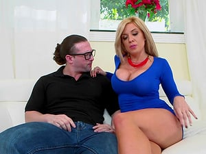 Honey with big faux tits is hungry for shaft in her cunt