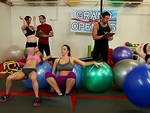 Hard-core fucking in the gym with a fit and sexy cougar honey