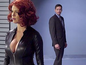 Captain America and big-titted bi-atch Black Widow fucking