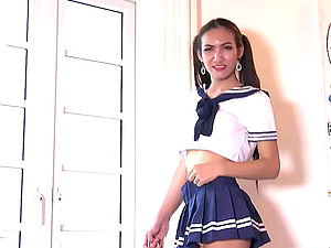 Finest trany in a brief mini-skirt shows off her meaty pecker