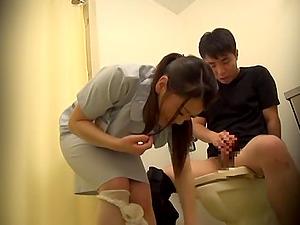 Nurse sits her lubricious Japnaese vagina on his dick