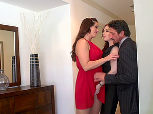 Gals in sexy dresses get naked with the dude and fuck his brains out