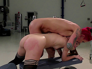 Kinky lesbos fucking in the warehouse with frigs and fucktoys