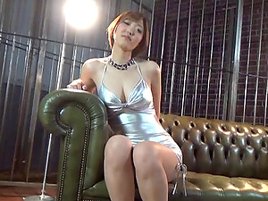 Asian in a whorey silver sundress uses a penis pump on his pulsing shaft