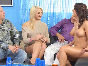 Two hot couples have fun horny bang-out games at home
