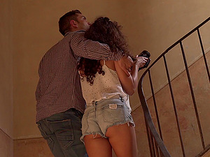 Whore with beautiful curly hair fucked by a horny chef