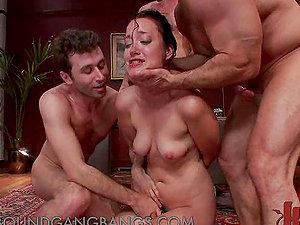 Kinky Wifey Masturbating Gets Group-fucked