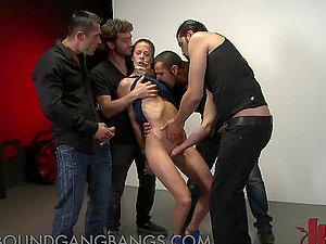 Brown-haired Gets Tied Up in Mass ejaculation Gang-fuck