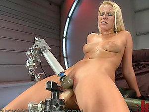 Blonde Cutie Sits On Machine & Screams Her Way To Orgasm