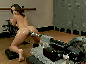 A few Fucking Machines Fucking This Stunning Black-haired's Fuckholes