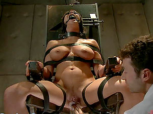 Tender Fucky-fucky with Buxomy Black-haired turns into a Rough Bondage & discipline Fuck