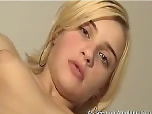 Homemade movie of hot blonde honey getting jizz flow on her breasts