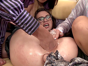 Dual girl-on-girl going knuckle deep of a promiscuous g/g in glasses