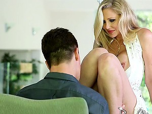 Sultry cougar in a milky lace sundress fucked by his big shaft