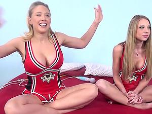 Mind-blowing cheerleaders having hook-up with their blonde friend