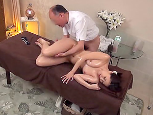 Bald Japanese boy gives the chick both the rubdown and the bonking
