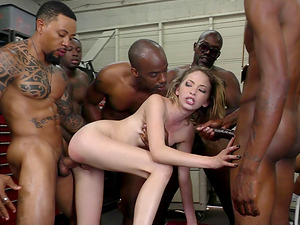 Blonde cutie and her fine escapade with the big black schlongs