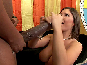 Pornographic star cock-squeezing ass-fuck logged with black manstick in closeup