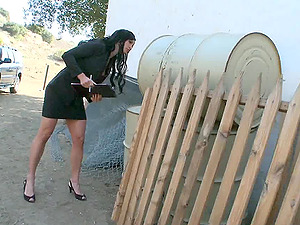 Classy restrain bondage gimp getting tormented at the construction site