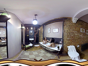 VR Pornography 360 with three moist chicks having a bath soiree