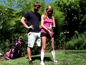 Skinny hot culo dame playing golf before getting ravished gonzo