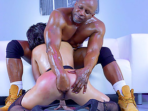 Black boy penetrates the oiled milky chick with his big dick
