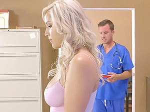 Horny doc and his nurse providing the patient a threesome treatment