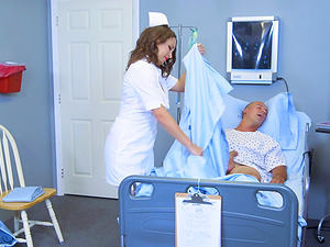 Magnificent nurse Lily Love permits the patient to explore her innards