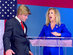 Patriotic Yankee honey takes the dick as deep inwards her as possible