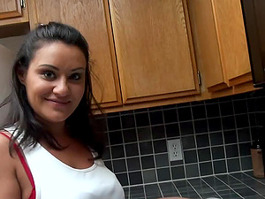 Jizz-shotgun adore in his kitchen with a good doggystyle fucking