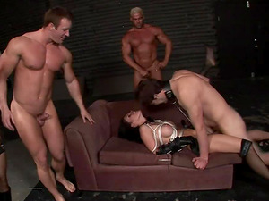 Muscular guys providing the tied up honey a hard intrusion treatment