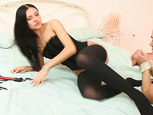 Corset and stockings are hot on the nymph he gobbles out