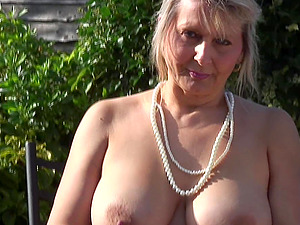 Big natural Brit mature tits are amazing outdoors