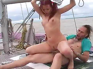 See this extreme movie of a duo banging on the yacht deck