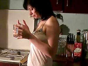 Sonya the sexy black-haired stunner having Point of view bang-out in the kitchen