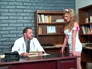 Sexy nurse Charisma Capelli makes her doc jizm