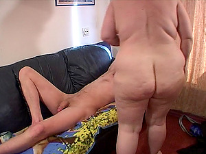 Chubby tart frigs her snatch and blows on a stiff member