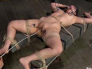 Voluptuous fuckslut Marina simply loves being restrained in the dungeon space